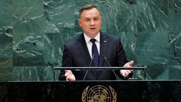 Andrzej Duda podczas wystąpenia na 74. sesji Zgromadzenia Ogólnego ONZ - Sputnik Polska