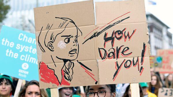 Transparent z wizerunkiem szwedzkiej aktywistki Grety Thunberg  - Sputnik Polska