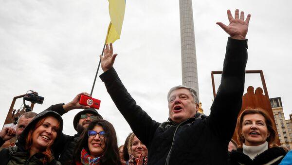 Były prezydent Ukrainy Petro Poroszenko wziął udział w protestach przeciwko [podpisaniu formuły Steinmeiera. - Sputnik Polska
