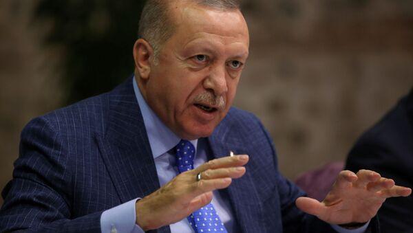 Prezydent Turcji Recep Tayyip Erdogan na spotkaniu z dziennikarzami w Stambule - Sputnik Polska