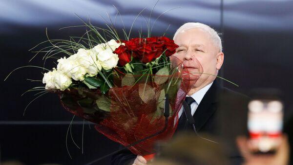 Lider PiS Jarosław Kaczyński po ogłoszeniu wyników wyborów parlamentarnych w Polsce - Sputnik Polska