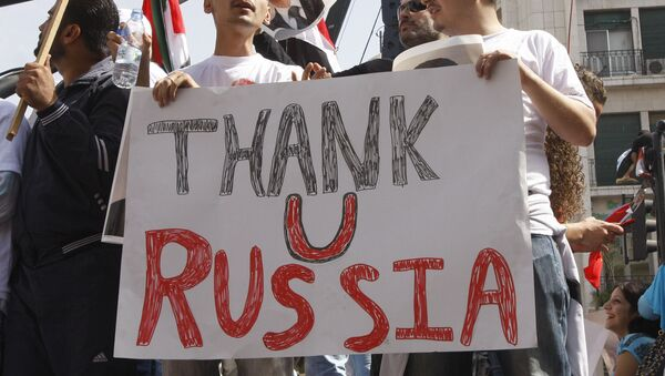 Demonstracja na rzecz poparcia Rosji w Damaszku - Sputnik Polska