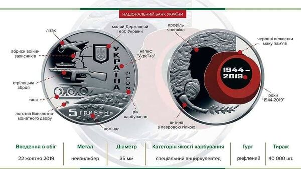 Moneta wyemitowana z okazji 75. rocznicy wyzwolenia Ukrainy spod okupacji niemieckiej - Sputnik Polska