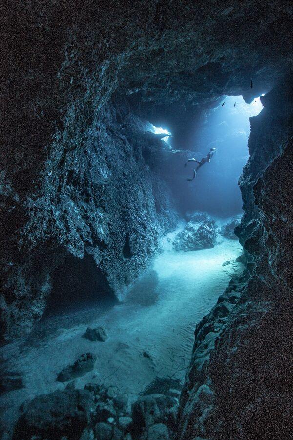 """Zdjęcie """"Freediving"""". Wykonał je fotograf z Hiszpanii Victor de Valles Ibañez w ramach konkursu fotograficznego World's Best Photos of #Blue2019 - Sputnik Polska"""