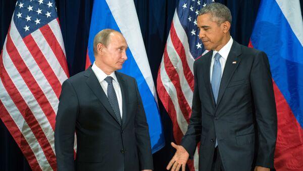 Prezydent Rosji Władimir Putin i prezydent USA Barack Obama podczas spotkania w ramach 70. sesji Zgromadzenia Ogólnego ONZ w Nowym Jorku - Sputnik Polska