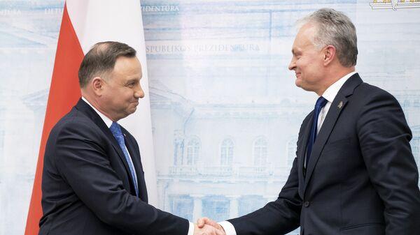 Prezydent Andrzej Duda z prezydentem Litwy Gitanasem Nausedą podczas spotkania w Wilnie - Sputnik Polska