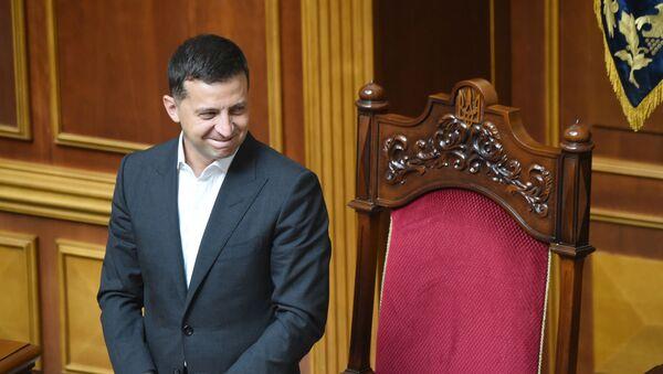 Prezydent Ukrainy Wołodymyr Zełenski na posiedzeniu Rady Najwyższej w Kijowie. - Sputnik Polska
