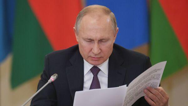 Prezydent Rosji Władimir Putin na posiedzeniu Euroazjatyckiej Unii Gospodarczej. - Sputnik Polska