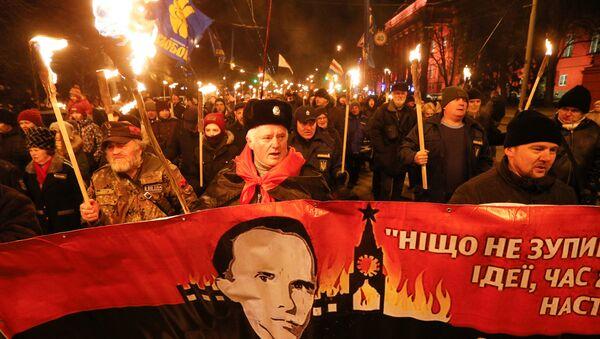 Marsz upamiętniający 111. rocznicę urodzin Stepana Bandery w Kijowie - Sputnik Polska