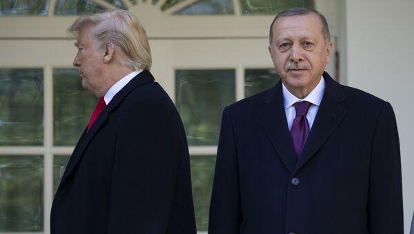 Prezydent USA Donald TRump i prezydent Turcji Recep Tayyip Erdogan przed spotkaniem w Białym Domu - Sputnik Polska