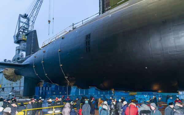 """Ceremonia wodowania atomowego okrętu podwodnego projektu """"Jasień-M"""". Siewierodwinsk - Sputnik Polska"""
