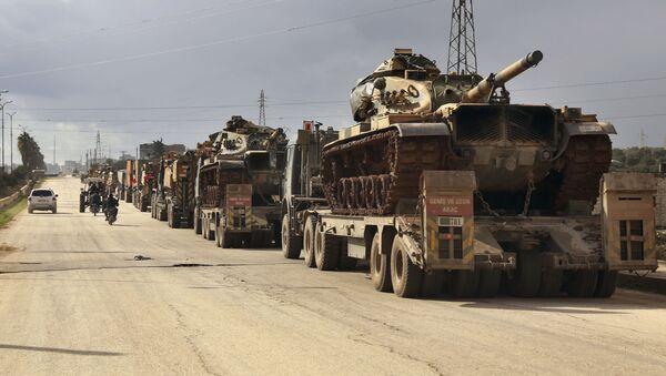 Turecki sprzęt wojskowy w prowincji Idlib, Syria - Sputnik Polska