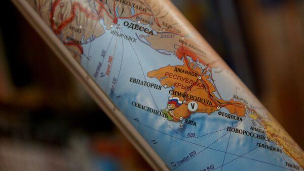 Mapa, na której Krym stanowi część terytorium Rosji - Sputnik Polska