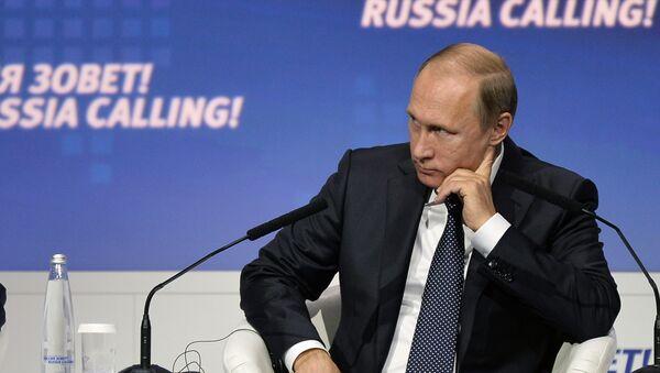 Prezydent Rosji Władimir Putin na forum WTB Kapitał Rosja woła! w Moskwie - Sputnik Polska