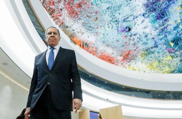Siergiej Ławrow na sesji Rady Praw Człowieka ONZ - Sputnik Polska