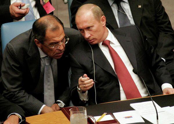 Siergiej Ławrow i Władimir Putin - Sputnik Polska