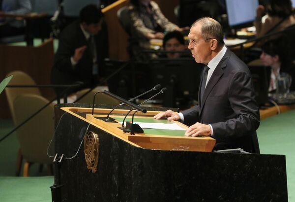 Siergiej Ławrow na szczycie ONZ - Sputnik Polska