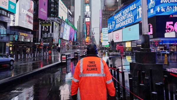 Epidemia koronawirusa w USA. Times Square w Nowym Jorku - Sputnik Polska