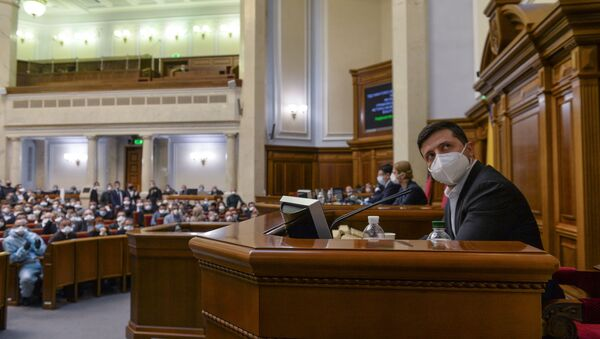 Prezydent Ukrainy Wołodymyr Zełenski na posiedzeniu Rady Najwyższej w Kijowie - Sputnik Polska