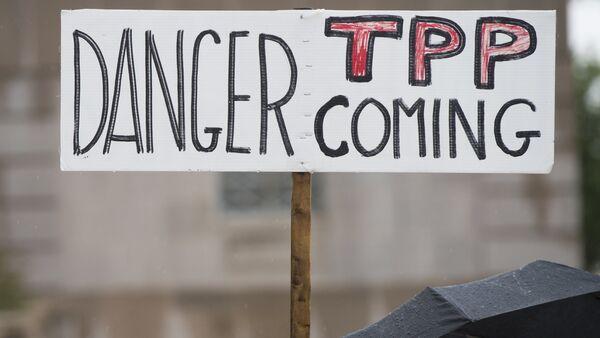 Akcja ptotestu przeciwko TPP. Washington, 21maja, 2015 - Sputnik Polska