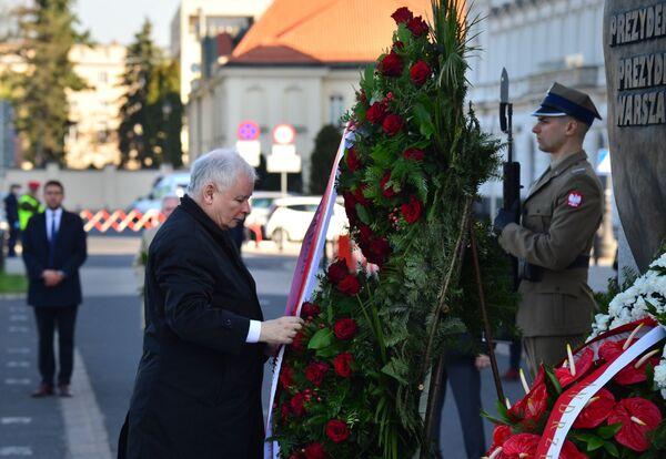 Jarosław Kaczyński podczas obchodów 10. rocznicy katastrofy pod Smoleńskiem - Sputnik Polska