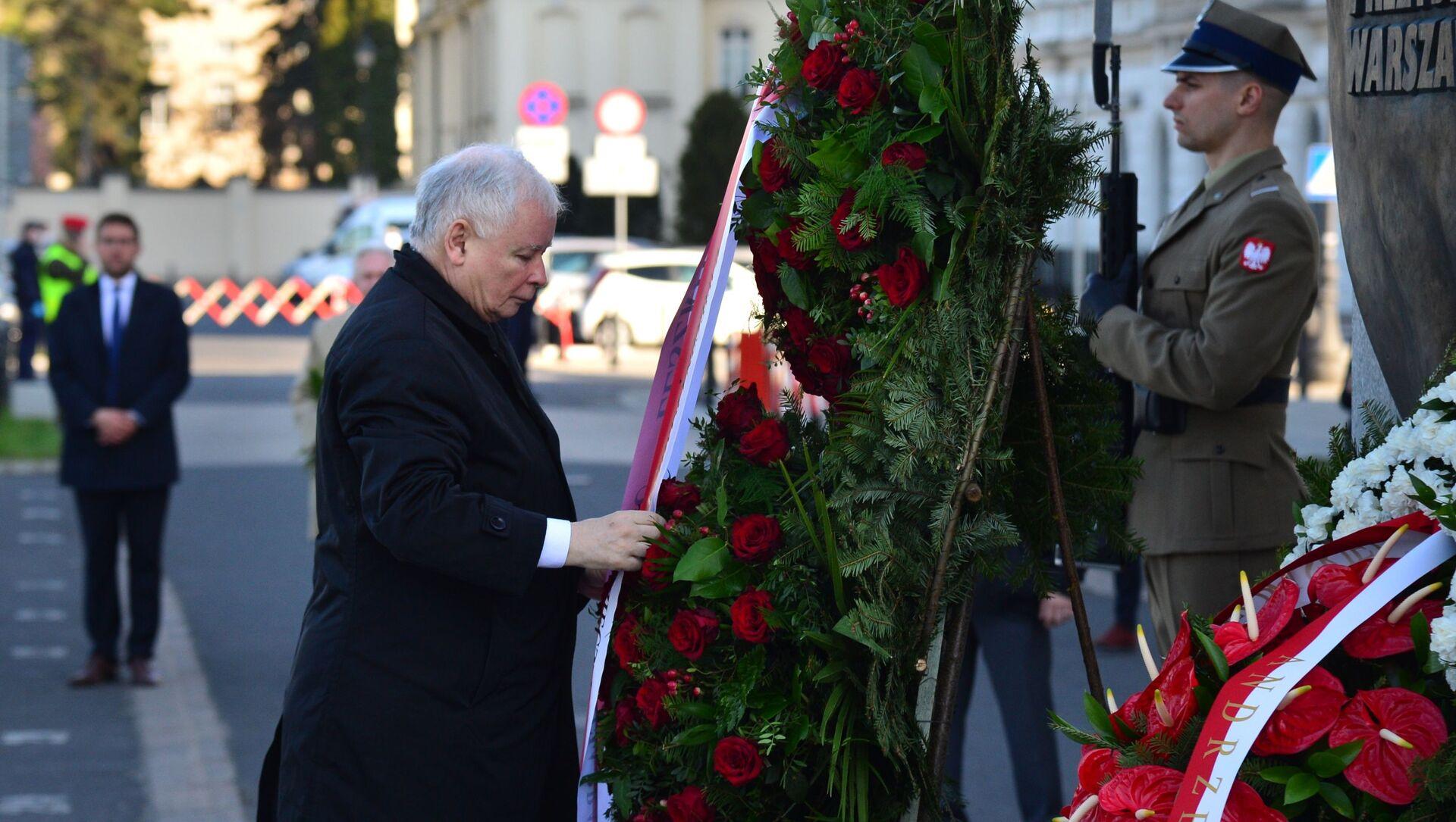 Jarosław Kaczyński podczas obchodów 10. rocznicy katastrofy pod Smoleńskiem - Sputnik Polska, 1920, 22.03.2021