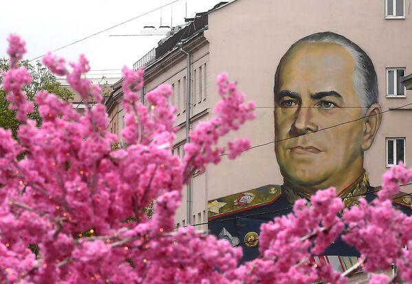 Graffiti przedstawiające radzieckiego dowódcę wojskowego Georgija Żukowa na ulicy Stary Arbat w Moskwie - Sputnik Polska