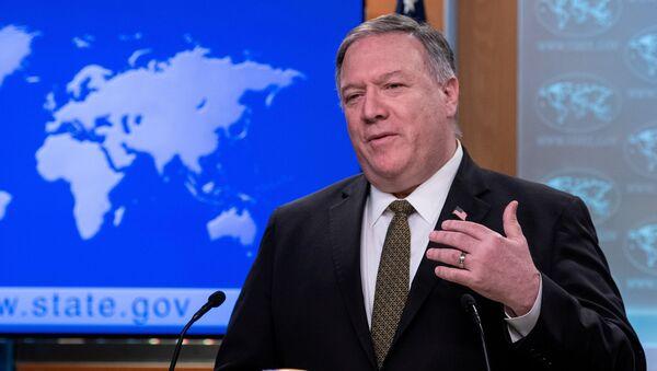 Sekretarz stanu USA Mike Pompeo podczas przemówienia w Waszyngtonie - Sputnik Polska