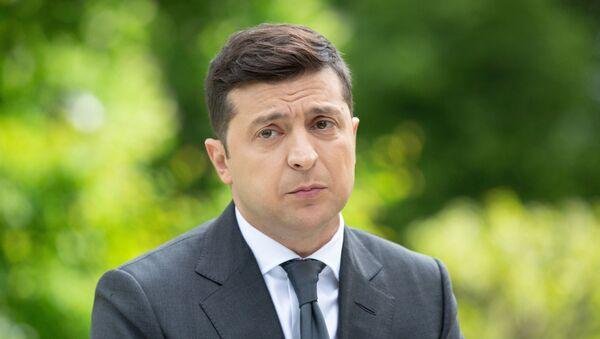Prezydent Ukrainy Wołodymyr Zełenski na konferencji prasowej poświęconej pierwszej rocznicy swojej kadencji - Sputnik Polska
