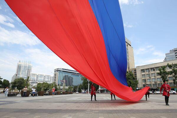 Obchody Dnia Rosji na głównym placu w Krasnodarze - Sputnik Polska