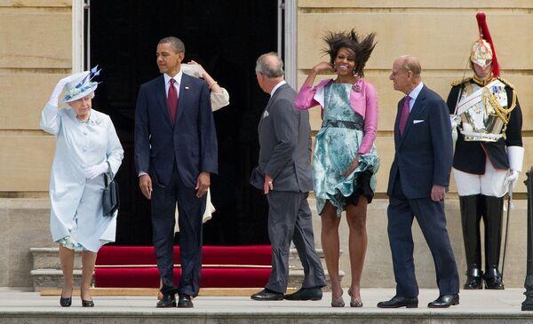 Królowa Elżbieta II, prezydent USA Barack Obama, pierwsza dama USA Michelle Obama i książę Filip, książę Edynburga w Pałacu Buckingham, 2011 - Sputnik Polska