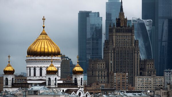 Katedra Chrystusa Zbawiciela, budynek Ministerstwa Spraw Zagranicznych Federacji Rosyjskiej i Moskiewskie Międzynarodowe Centrum Biznesowe Moscow City - Sputnik Polska