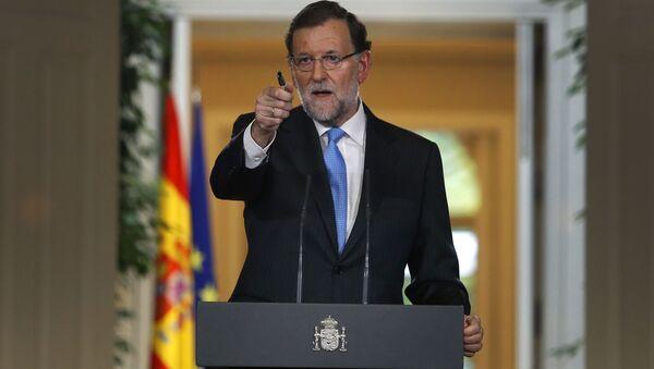 Przewodniczący hiszpańskiego rządu Mariano Rajoy podczas konferencji w Madrycie - Sputnik Polska