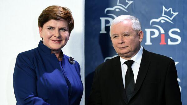 Prezes PiS Jarosław Kaczyński i premier Polski Beata Szydło - Sputnik Polska