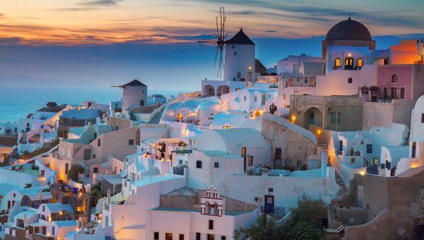 Widok na wieś Santorini w Grecji - Sputnik Polska