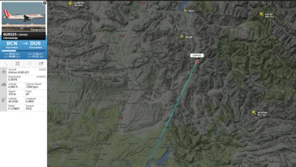 Zrzut ekranu ze strony Flightradar24, przedstawiający trasę rozbitego Airbusa A320 - Sputnik Polska