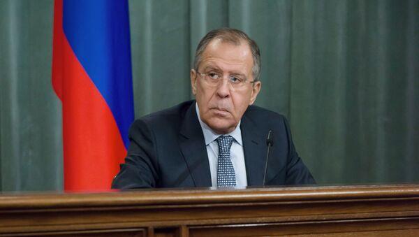 Minister spraw zagranicznych Rosji Siergiej Ławrow na konferencji prasowej w Moskwie - Sputnik Polska