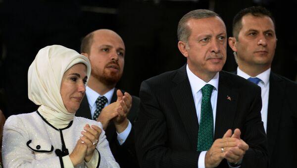 Prezydent Turcji Recep Tayyip Erdoğan z żoną Emine i synem Bilalem w Ankarze - Sputnik Polska