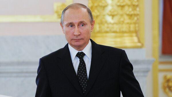 Prezydent Rosji Władimir Putin na uroczystości wręczenia listów uwierzytelniających na Kremlu, 26 listopada 2015 - Sputnik Polska