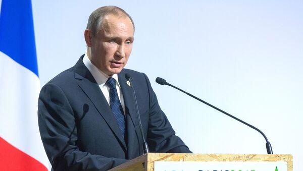 Prezydent Rosji Władimir Putin przemawia na otwarciu Konferencji Narodów Zjednoczonych ws. klimatu w Paryżu - Sputnik Polska