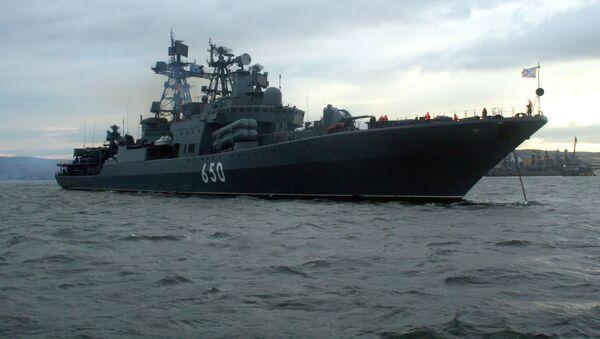 Duży okręt do zwalczania łodzi podwodnych Admirał Czabanenko rosyjskiej Floty Północnej - Sputnik Polska