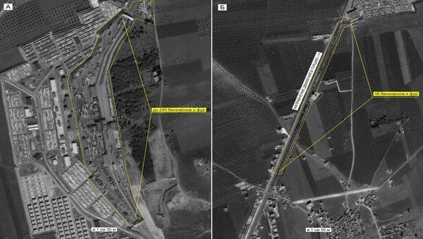 Ciężarówki wjeżdżające do Turcji (Ministerstwo Obrony Rosji) - Sputnik Polska