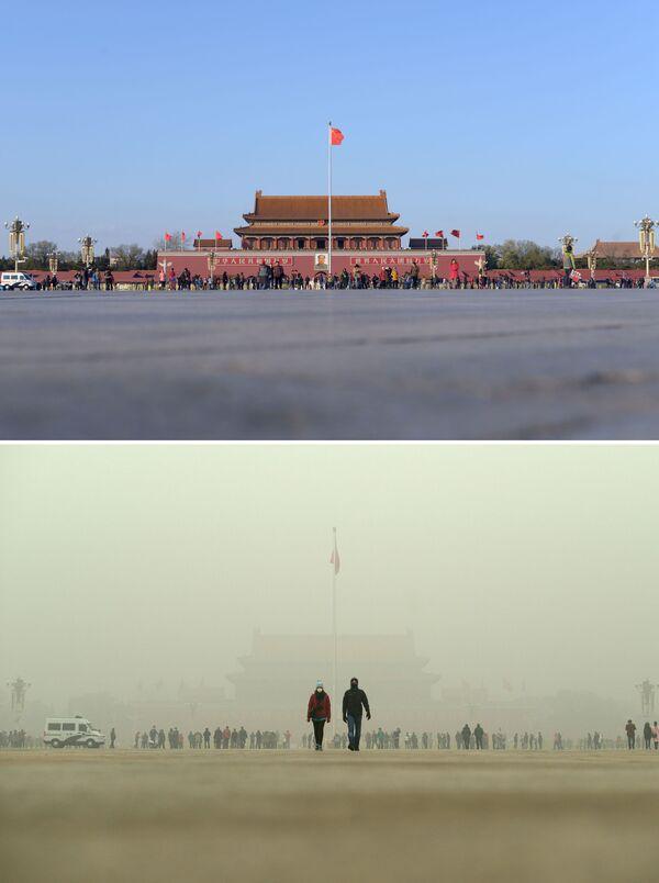 Plac Niebiańskiego Spokoju przed i po smogu w Chinach - Sputnik Polska
