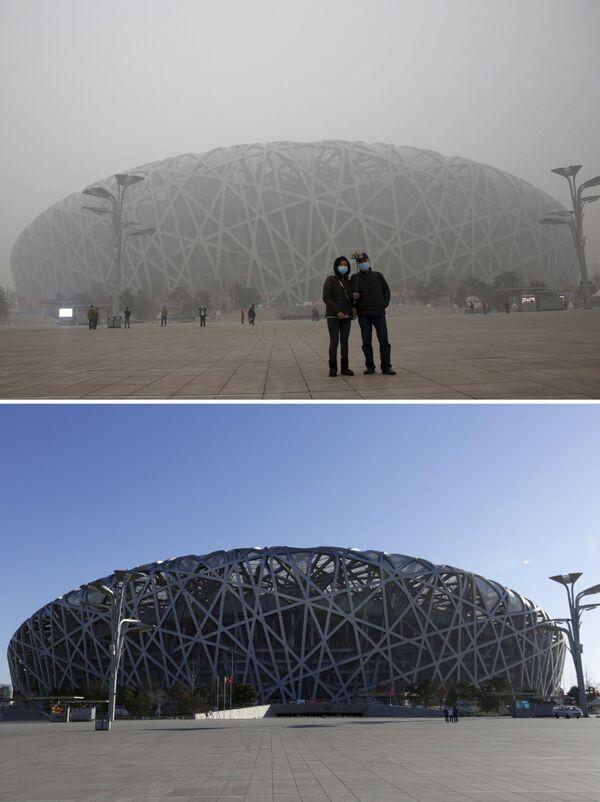 Stadion Narodowy w Pekinie przed i po smogu - Sputnik Polska