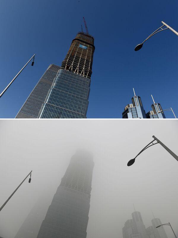 Wieżowiec w Chinach przed i po smogu - Sputnik Polska