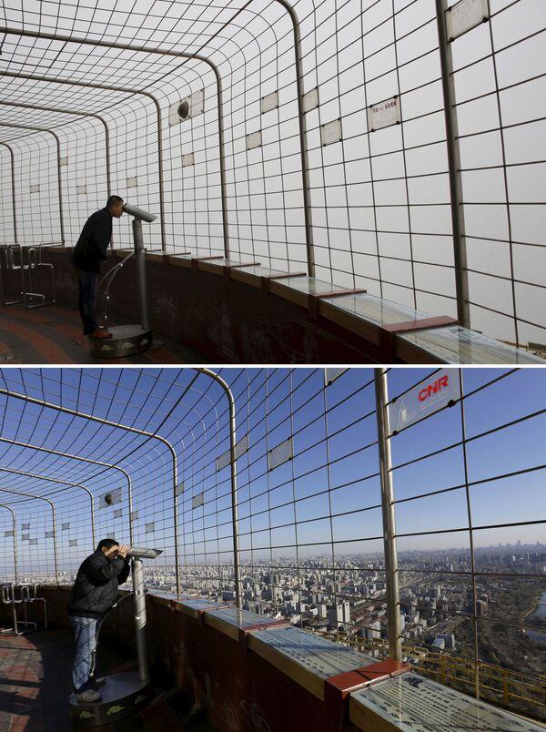 Widok z platformy widokowej Central Radio & TV Tower w Pekinie przed i po smogu - Sputnik Polska