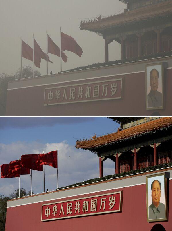 Brama Niebiańskiego Spokoju w Chinach przed i po smogu - Sputnik Polska