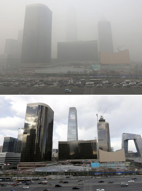 Pekin przed i po smogu - Sputnik Polska