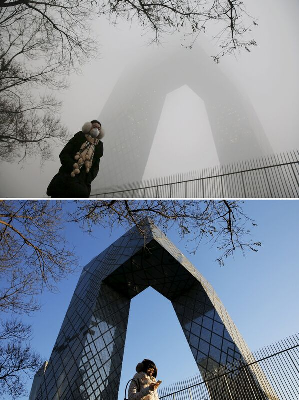 Siedziba CCTV w Chinach przed i po smogu - Sputnik Polska