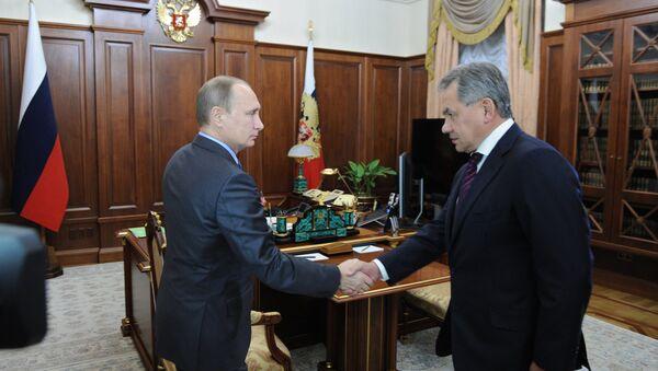 Prezydent Rosji Władimir Putin spotkał się z ministrem obrony Rosji Siergiejem Szojgu - Sputnik Polska
